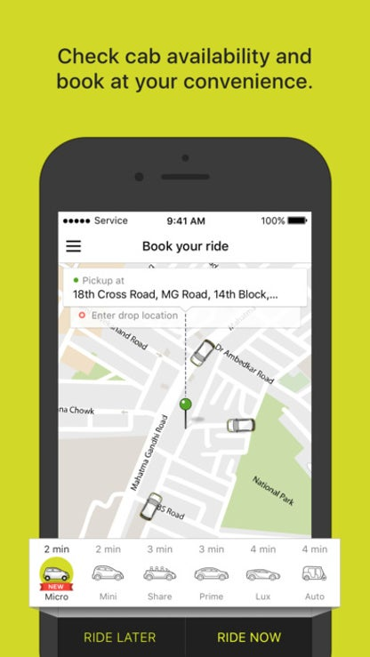 Ola cabs - Book a taxi with one touch for iOS image