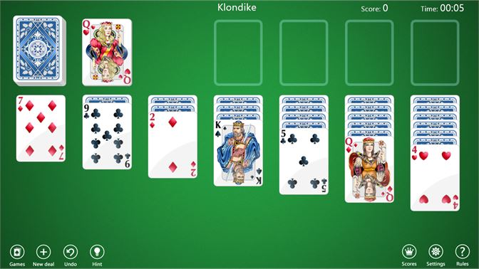 Play four popular solitaire variations