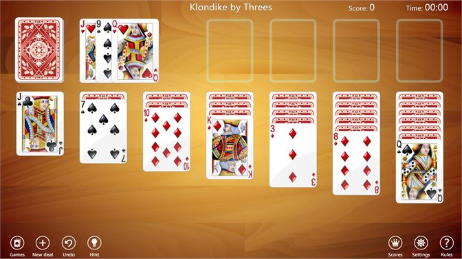 Klondike by Threes with wooden background