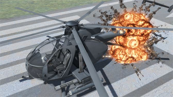 Fly the AH-6 Little Bird attack helicopter! With detailed cockpit instruments, cyclic and collective controls adjust the blade pitch just like a real helicopter! Fire the attached M134 minigun and rockets!