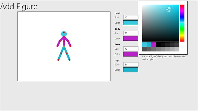 Add a custom stick figure to the gallery to use in your animation. Choose the limb sizes and colors.