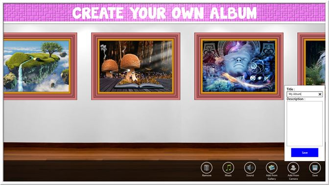 Or you can create your own album from images on your computer or from your camera.