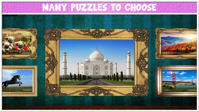 Choose desired puzzle between many available puzzle sets.