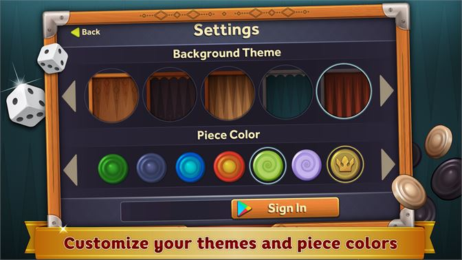 Customize your themes and piece colors.