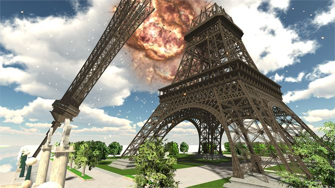 Collapse of the ever famous Eiffel Tower in Paris! With a working elevator you can ride all the way to the top!