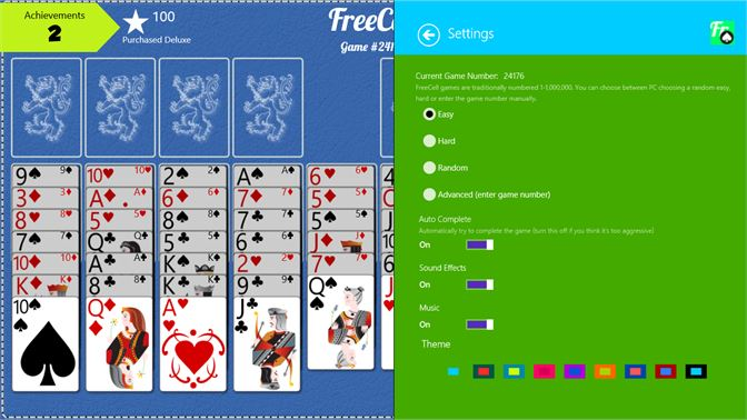 FreeCell supports multiple colors and themes