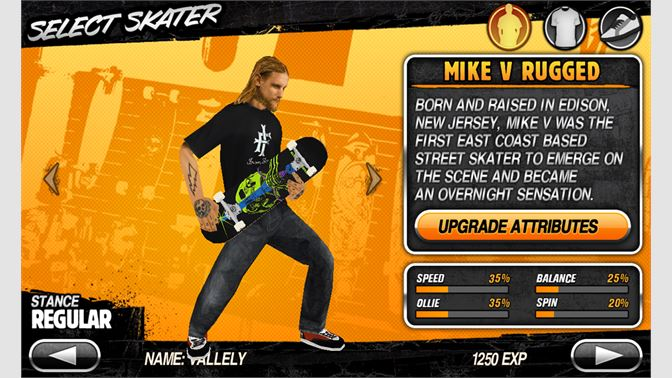 Customize your skater or board with tons of exclusive content including outfits, boards, trucks and wheels from licensed brands.